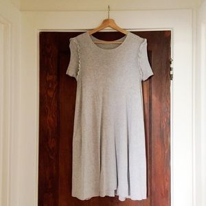 Zara Light Gray Knit Swing Dress w/ Ruffle Detail
